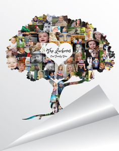 Family Tree Photo Collage  Family Tree Wall Art  by ArtsyEinstein
