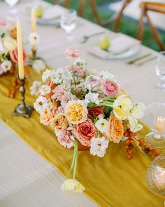 This sweet backyard wedding with a romantic flower aisle ceremony has us walking on sunshine with its bright yellow, green and pink color palette, pear-filled reception decor and wildflower cake. Whimsical design details abound from start to finish, so head to Ruffled now to check it out! Forest Wedding Reception, Rooftop Wedding, Winter Wedding Flowers, Wedding Reception Centerpieces, Romantic Flowers, Flower Centerpieces, Floral Wedding, Wedding Bouquets, Wedding Decorations