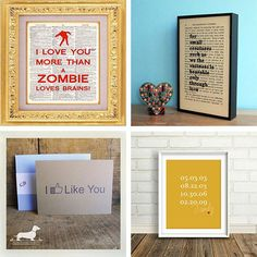 Valentines day prints -- love the zombie option