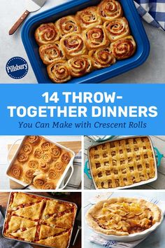 It's hard enough to get home in time to eat dinner, let alone make it! That's why we're sharing our quickest crescent dinners. Crescent Dough Sheet Recipes, Crescent Roll Recipes, Crescent Rolls, Best Potluck Dishes, Rolled Chicken Recipes, Good Food, Yummy Food, Tasty, Pillsbury Recipes