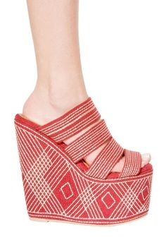 Jeffrey Campbell Elizer Shoe in Red Fabric. Am I crazy for just buying these?