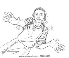 Sketch of happy young girl with hands apart with spread fingers, Hand drawn vector illustration, Line art