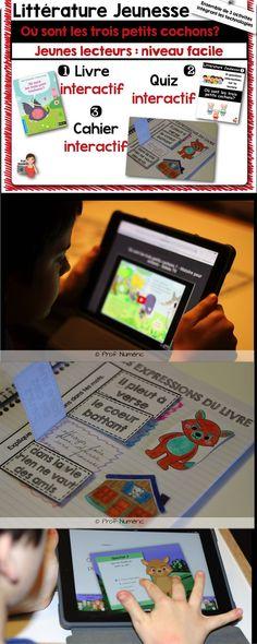 Cahiers interactifs et Littérature Jeunesse. Via les Technologies, l'histoire audio est incluse. #EdTech #CahiersInteractifs #notebook #FSL #EdTech