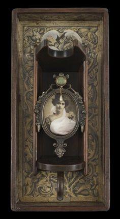 "Swan Love   Artist Kass Copeland Mixed Media Assemblage Wooden Wine bottle holder, frame, jewelry   16""h x 7.5""w x 8""d"