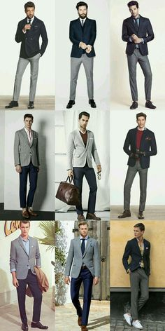 Male Models, casual standing poses, suits