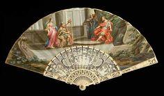 David jouant de la harpe devant Saül Eventail, la feuille en velin peint à la gouache. Saül est représenté trônant sous un dais, alors que David, pour tromper l'ennui du roi, lui joue de la harpe, assis sur un tabouret. Un garde et deux servantes complètent la composition, placée sous une arcade classique. Vendu aux #encheres le 13/05/14 par Art Richelieu