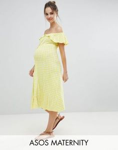 7702a7e439894 ASOS MATERNITY Off Shoulder Button Through Midi Sundress in Gingham Maternity  Dresses Summer, Maternity Swimsuit