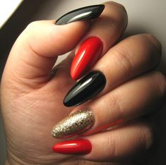 35 Lovely Designs for Almond Nails You Won't Resist - Red And Black Almond Nail Designs With Gold Glitter ❤ Lovely Designs for Almond Nails You Won't - Gold Nail Designs, Almond Nails Designs, Acrylic Nails Stiletto, Glitter Nails, Gold Glitter, Coffin Nails, Black Almond Nails, Red Black Nails, Red Nails With Gold