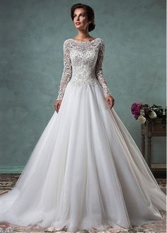 Gorgeous Tulle Bateau Neckline A-line Wedding Dresses with Beaded Lace Appliques
