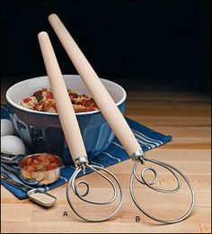 Danish Dough Whisks.  I love mine, so much better than a wooden spoon!