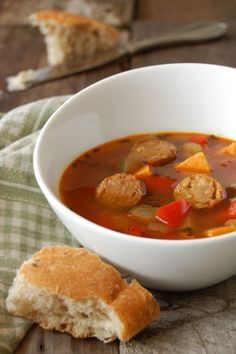 Spicy veggie and sausage soup.  Perfect for our un-springy May weather.