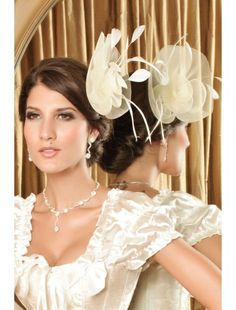 Magnificent, White Victorian Hair Hoop With Net Flower   Headgear   Accesories   StringsAndMe