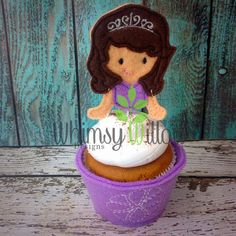 Sophia Cupcake Topper ONLY ITH Embroidery by WhimsyWillowEmb