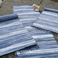 Handmade Swedish rag rugs woven of recycled jeans. Denim, a strong fabric with many colour nuances, make both long lasting and beautiful floor carpets.