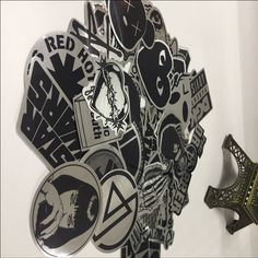 50pcs/lot Metallic Color Black and White Stickers for Home Decor