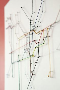 metro map made of string