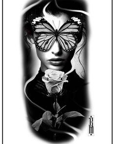 #butterfly #rose #face #women #design #tattoo #blackandwhite