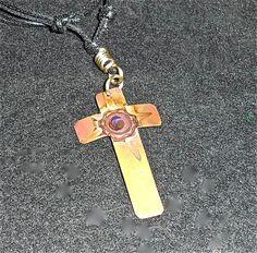 Handmade copper cross, oxidized yellow copper jewelry