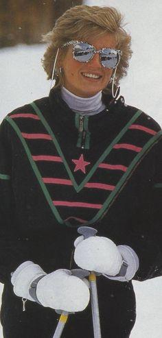 Princess Diana skiing! Love the shades!