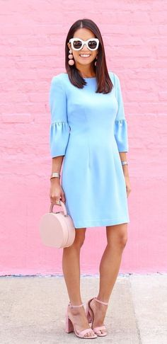 #winter #outfits  blue 3/4-sleeved mini dress