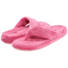 Acorn New Spa Thong (Azalea) Women's Slippers ($38) ❤ liked on Polyvore featuring shoes, slippers, pajamas and azalea