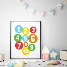 Numbers Printable Art, 123 Number Art, Playroom Art, Numbers Poster, Nursery Decor, Counting Poster, Kids Number Wall Art *Instant Download* Playroom Art, Art Wall Kids, Printable Numbers, Printable Wall Art, Number Art, Printing Websites, Numbers For Kids, Room Posters, Nursery Wall Decor