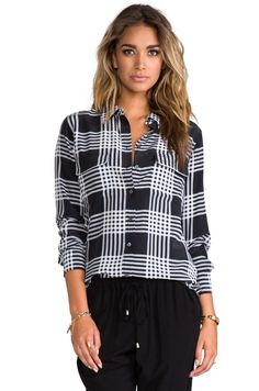 Equipment Slim Signature Ghost Plaid Blouse in Black from REVOLVEclothing