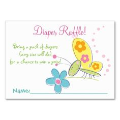 Happy Butterfly Baby Shower Diaper Raffle Tickets Large Business Cards (Pack Of 100)