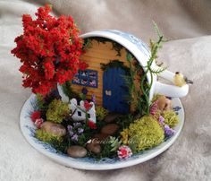 Fairy Garden in a Cup & Saucer, Miniature Cup & Saucer Garden by Cardinal on the Mantel