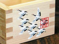 Crane Print Masu: JCRAFTS.com #japan #gifu