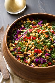 I cant wait to try this! This colorful and nutrient dense Power Kale Salad is filled with crunchy vegetables, drizzled with a peanut dijon dressing and topped with salty peanuts! The perfect salad to fuel you up! Clean Eating Recipes, Healthy Eating, Cooking Recipes, Cooking Tips, Healthy Salad Recipes, Vegetarian Recipes, Kale Power Salad, Soup And Salad, Colorful
