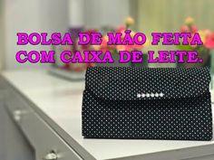 DO LIXO AO LUXO, BOLSA DE MÃO FEITA COM CAIXA DE LEITE. - YouTube Milk Carton Crafts, How To Make Paper, Crafty, Youtube, Learning, Sewing, Kids, Clutches, Diy Bags