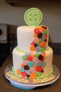 Cute as a Button, baby shower cake for unknown gender