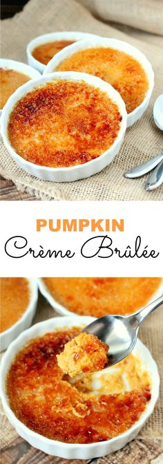 Pumpkin Crème Brulee is a delicious spin on a classic recipe that is oh-so perfect for this season. Pumpkin all the things! Pumpkin Crème Brulee is a delicious spin on a classic recipe that is oh-so perfect for this season. Pumpkin all the things! Thanksgiving Recipes, Fall Recipes, Sweet Recipes, Holiday Recipes, Thanksgiving Celebration, Cuban Recipes, Köstliche Desserts, Dessert Recipes, Dinner Recipes