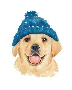 Lab Watercolor - 8x10 Watercolour Print, Gloden Retriever, Illustration Print, Dog Painting, Nursery Art
