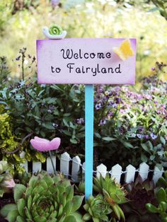 Fairy Garden Miniature Sign Welcome to Fairy by HelloLittleCloud