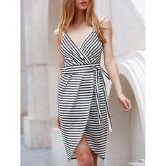 Sexy Spaghetti Strap Sleeveless Striped Self-Tie Dovetail Dress For Women