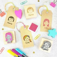 Personalised Woman Girl Character Rubber Stamp   by Skull and Cross Buns