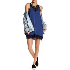 Poof Silky Slip Minidress (€14) ❤ liked on Polyvore featuring dresses, denim, short dresses, slip on dress, mini dress, sleeveless dress and slip dress