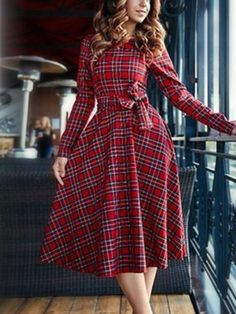 Red Plaid Tie Waist Long Sleeve Skater Dress