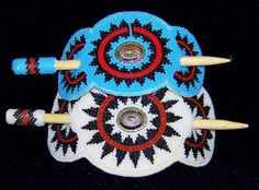Traditional Navajo Wedding Basket Design Seed Bead Hairpiece! from stoneroses on Ruby Plaza
