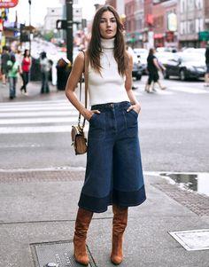 culotte denim suede boots 70s seventies Lily_Aldridge_The_Edit-Net_A_Porter-4