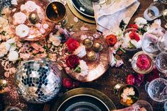 Glitter, disco balls, a Champagne glass tower! Click through for this wild and wonderful, downright DREAMY disco holiday party recap.