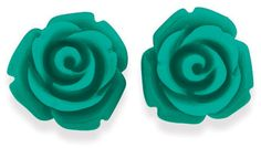 Sterling Silver Resin Rose Studs - Turquoise