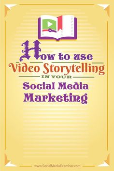 Telling stories with video increases engagement, triggers social sharing and gives people a reason to talk about you online and offline. Here are eight ways to combine storytelling, video and social media. Discover more about video marketing Marketing Mail, Inbound Marketing, Content Marketing, Internet Marketing, Online Marketing, Social Media Marketing, Digital Marketing, Marketing Ideas, App Social