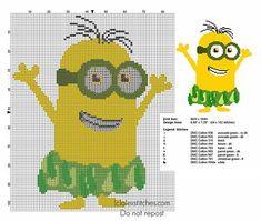 Hawaii Hula Dance Minion from 2015 movie Minions cross stitch pattern