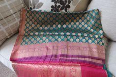 Teal Blue Benarasi Dehera Silk  saree with ZARI WORK by ZainabBoutique on Etsy