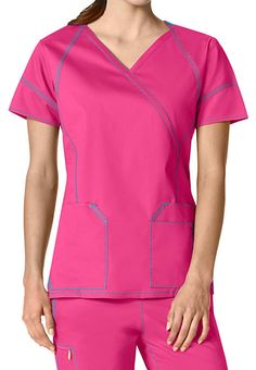 WonderWink 7 Flex crossover tops feature stylish pockets and seams, and a super-comfy fabric. Scrubs Pattern, Cute Scrubs, Scrub Life, Medical Scrubs, Scrub Tops, Princess Seam, Caregiver, Crossover, Phlebotomy