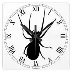 Black Spider Square Roman Numerals Clock  Halloween decoration for the home.  http://www.zazzle.com/black_spider_square_roman_numerals_clock-256950582856320181?rf=238271513374472230  #halloween  #halloweendecoration