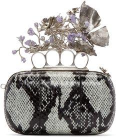 Alexander McQueen: Black & Blue Snakeskin Sweet Pea Knucklebox Clutch | SSENSE